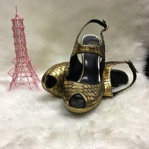 Gold Peeptoe Heels